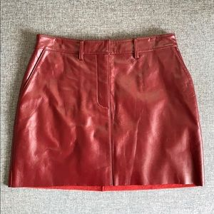Wilsons Leather Maxima Red Leather Mini Skirt Sz 8